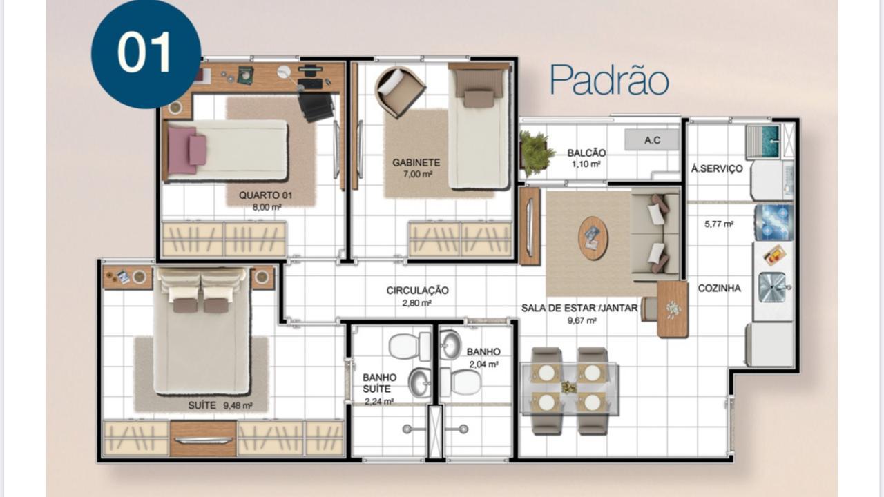 2 quartos + gabinete